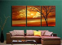 Handmade 3 Piece Black White Red Contemporary Landscape Oil Painting On Canvas Wall Art Sunset Branches