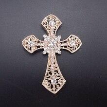 Новая мода Блестящий крест серебро/золото шампанского покрытие Стразы блестящая Брошь булавка для женщин ювелирное изделие номер: BH8110