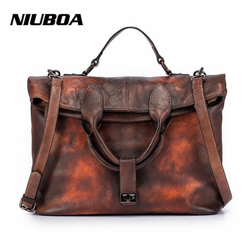 NIUBOA Original 100% Genuine Leather Bag Real Cowhide Women Handbags Vintage Manual Simple Design Solid Crossbody Bags For Women niuboa 100