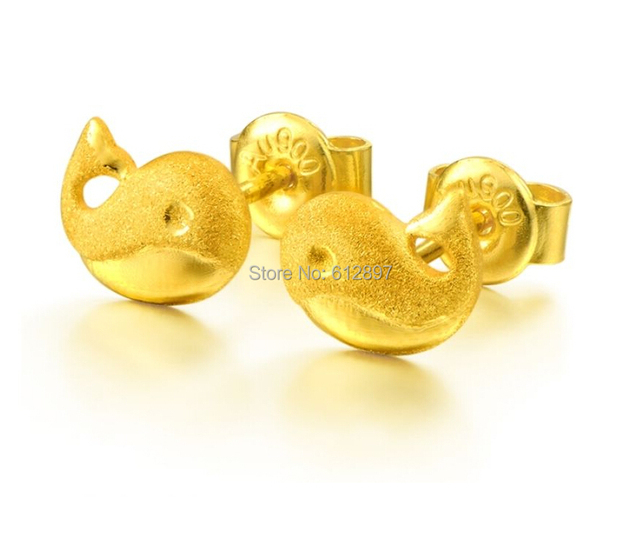 Solid 999 24k Yellow Gold Stud Earrings Lovely Dolphin 2 99g