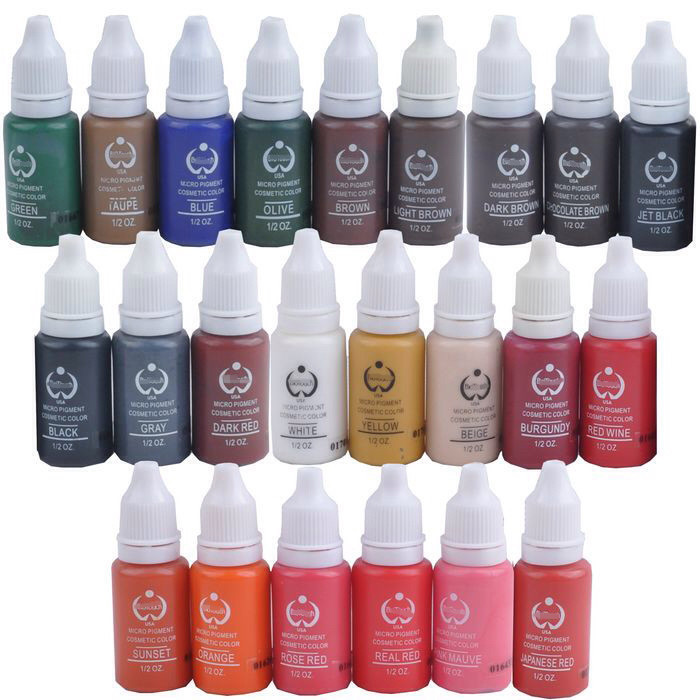 New 23PCS Permanent Makeup Micro Pigment Color Cosmetic Tattoo Ink For Permanent Makeup Eyebrow Eyeliner Lip Tattooing Supplies beautome 2016 permanent makeup pen tattoo eyebrow lips cosmetic machine kits needles tips ink permanent tattooing for adult red