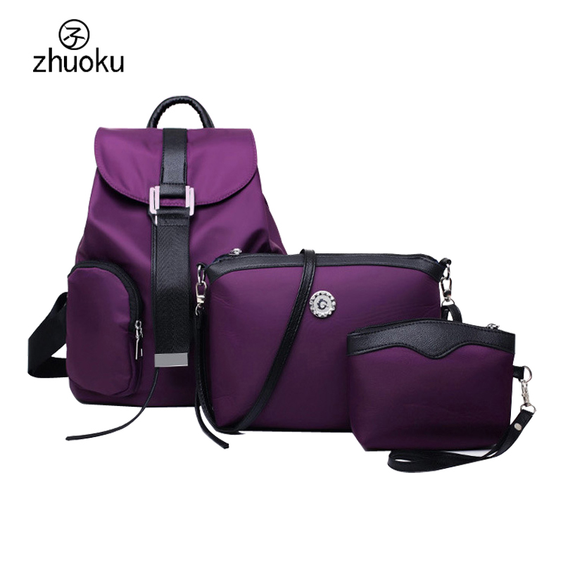 mochila feminina Fashion Waterproof nylon women backpack clutch three piece composite bags mochilas mujer 2016 Clutch