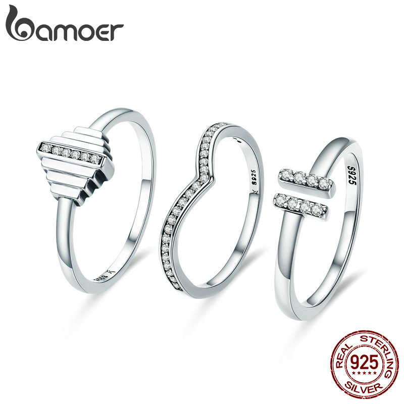 BAMOER 100% Authentic 925 Sterling Silver Bridal Sets Geometric Luminous CZ Female Ring for Women Sterling Silver Jewelry SCR305 bamoer 925 sterling silver