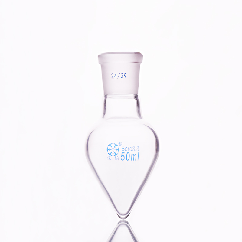 Pear-shaped Flask,Capacity 50ml,Joint 24/29,Heart-shaped Flasks,Coarse Heart-shaped Grinding Bottles