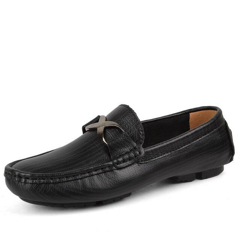New 2016 Arrival Men Casual Genuine Leather Driving Doug Shoes Slip-on Pure Color Breathable Flats Loafers Shoes Plus Size 35-49 branded men s penny loafes casual men s full grain leather emboss crocodile boat shoes slip on breathable moccasin driving shoes