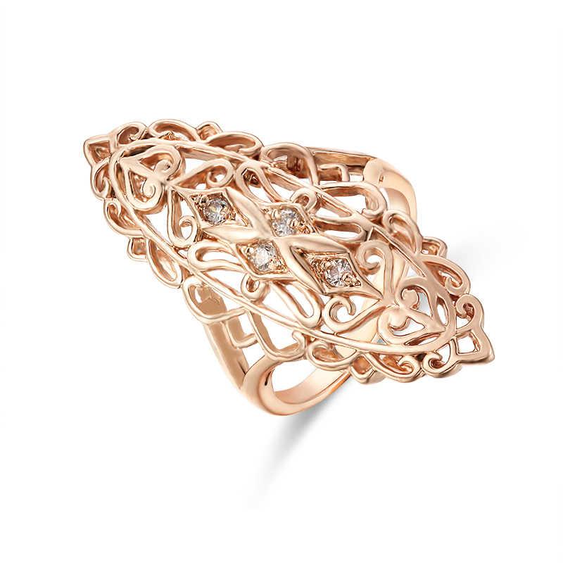 Модные Украшения Женские 585 золотые цветные кольца белый камень  заполненный лист формы свадебные длинные широкие ювелирные 738218cf884