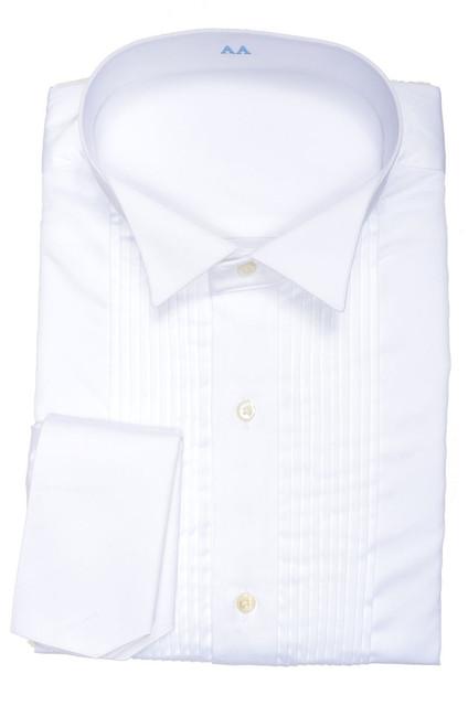 2016 nueva llegada de 100% algodón clásico esmoquin negro de cuello y fench cuff con plisado delantero slim fit boda smoking camisa hombre