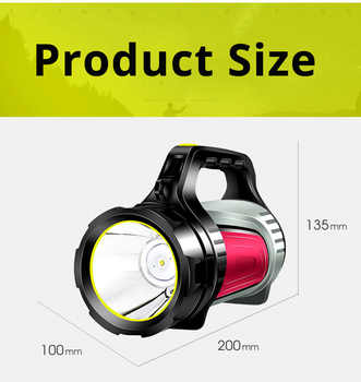 High Power Bright LED Searchlight Handheld Portable USB Rechargeable Flashlight Torch Multi-function Long Shots Lamp