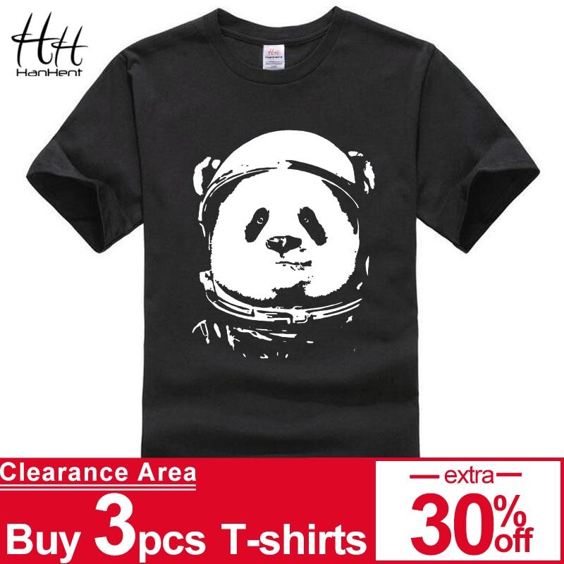 HanHent espacio Panda Camiseta Hombre 2018 moda lindo Animal Camisetas divertidas Camisetas cuello redondo Streetwear negro Camisetas Hombre