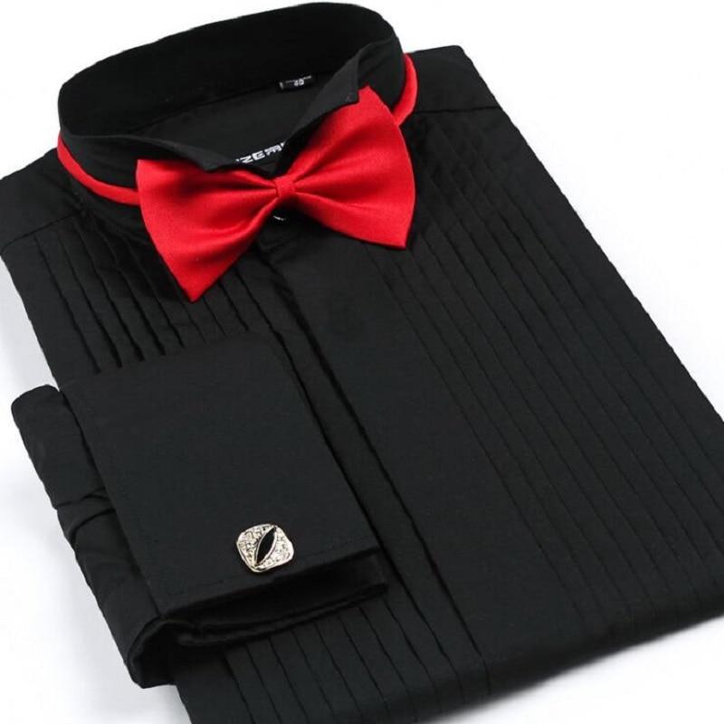 더하기 크기 우아한 남자 비즈니스 캐주얼 긴 소매 셔츠 화이트 블루 블랙 스트라이프 신랑 셔츠 사회 복장 셔츠