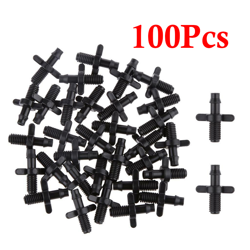 100PCS Barbed Connector Double Way For 0.6cm Garden Drip Irrigation Hose