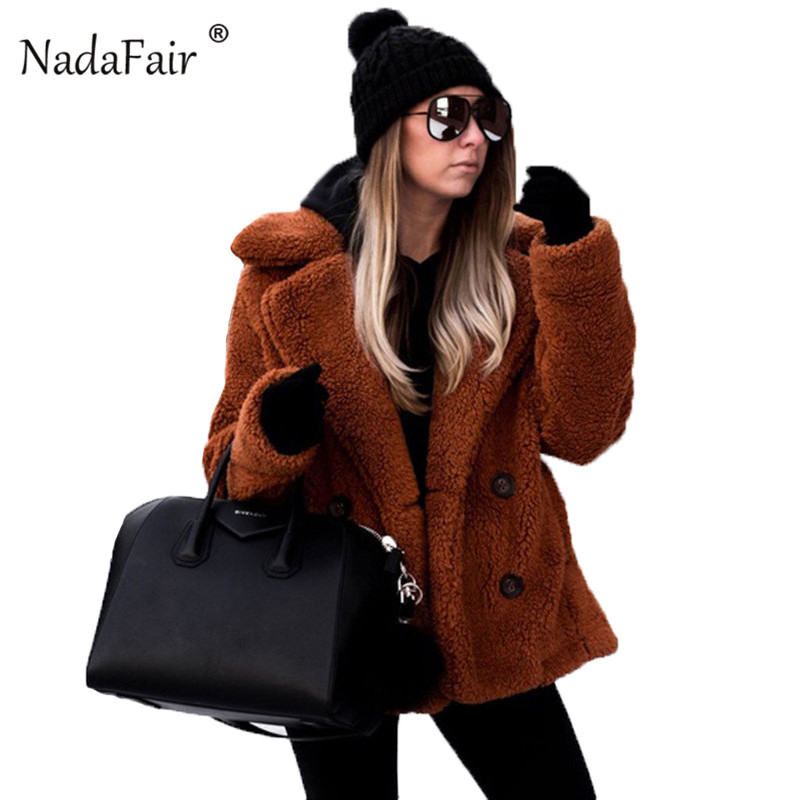 Nadafair Casual Teddy Coat Winter Fleece Plus Size Warm Thick Faux Fur Jacket Coat Women Pockets Plush Overcoat Outwear