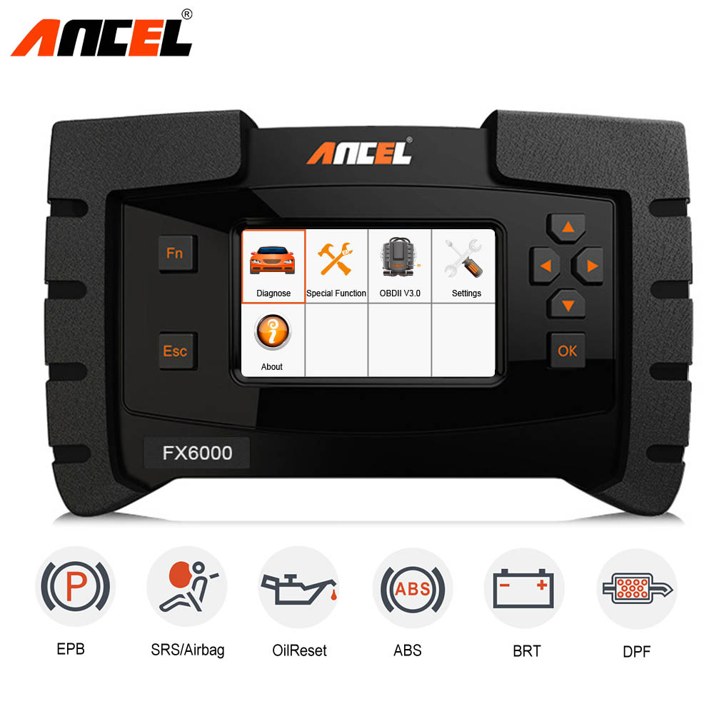 Ancel FX6000 OBD2 Full System Diagnostic Tool For Car EPB DPF Oil Reset Injector Coding  OBD 2 Automotive Scanner Free Update(China)