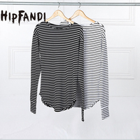 2016 Hot Streetwear Hip Hop Kpop Hipster Urban Striped Curved Hem Tee Mens Clothing Extra Long