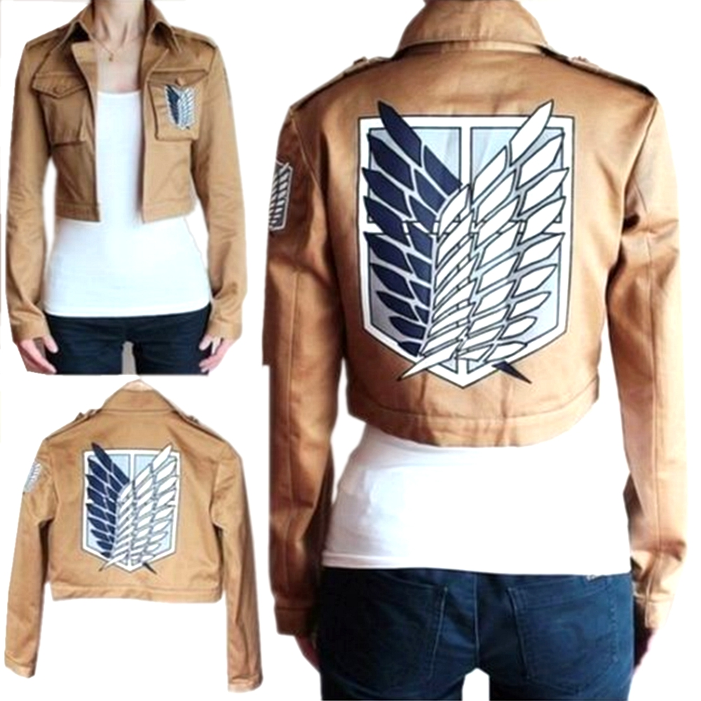 Attack på Titan Jacket Shingeki No Kyojin Legion Coat Cosplay Eren Levi Broderi Jacket Plus Size Halloween Kostyme S-XXXL