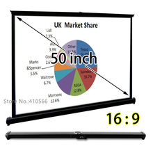 Portable Table Projection Screen 50″ Diagonal 16:9 HD Projector Screens Best For Office PPT Business Presentation
