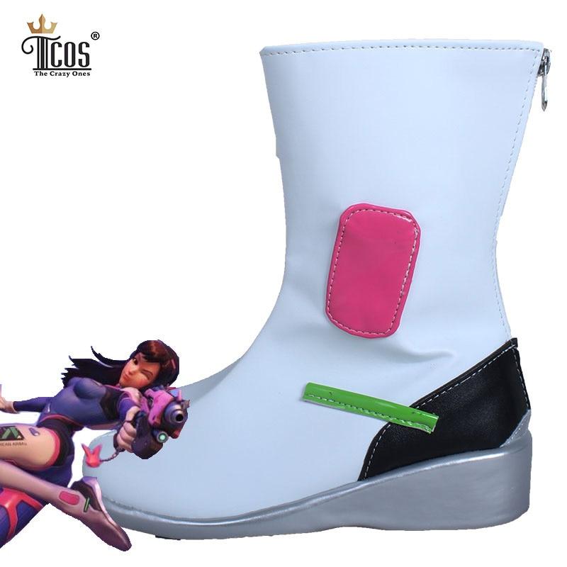 Ow over y reloj D. va mujeres Cosplay Botas cuero artificial Partido Blanco  de tacón alto cremallera trasera artificial Zapatos de cuero 3a3c48989313
