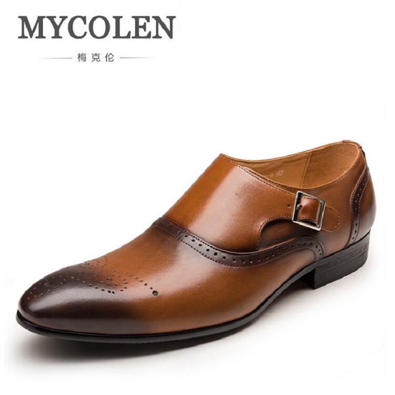 MYCOLEN Mens Shoes Slip On Party Wedding Shoes Pointed Toe Flats Shoe Man Carved Hollow Comfortable Buckle Men Dress Shoes pu pointed toe flats with eyelet strap