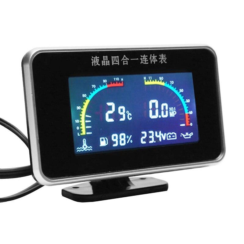 Voiture 4 en 1 LCD affichage numérique voltmètre température de l'eau pression d'huile jauge de carburant avec capteur de température capteur de pression d'huile