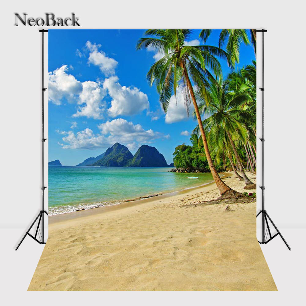 NeoBack 5x7ft Poly Vinyl Summer Sea Beach View Photo Backgrounds Photo Studio Indoor Computer Printed Children Backdrops P2305