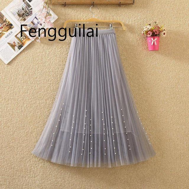 Женская плиссированная юбка средней длины длинная сетчатая трапециевидная