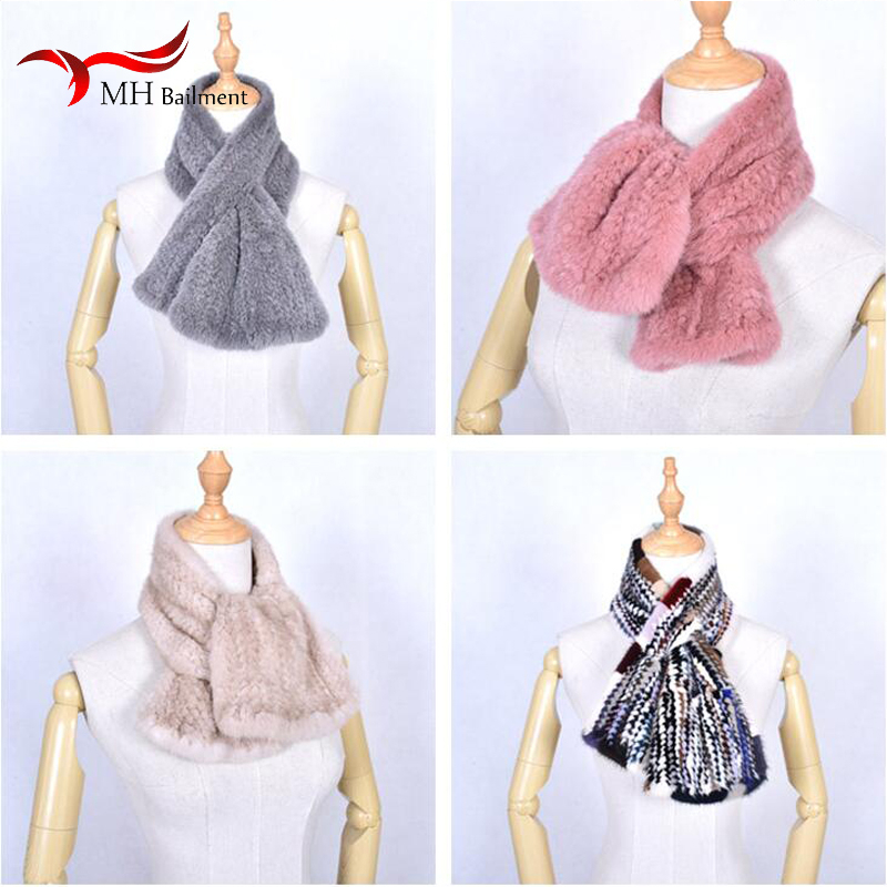 Autumn Winter New 100% Mink Woven Fur Collar Female Fashion Warm Comfortable Scarf Men And Women Double-sided Luxury Cross Shawl