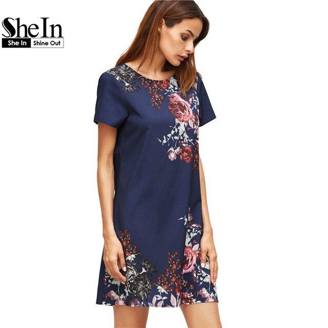SheIn Summer Dresses Casual Womens Boho Dresses New Arrival 2017 Royal Blue Aztec Print Short Sleeve Floral Shift Dress