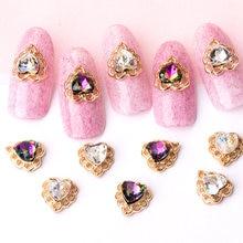 10pcs/lot Alloy 3D Nail Art Hollow Love Heart Series alloy metal nail art accessories DIY Rhinestone & Decoration charms