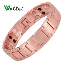 Wollet 2017 Health Jewelry Red Copper Magnetic Bracelet for Men 2 Row Magnet Healthy Bio Energy Bracelets & Bangles Luxury Gift все цены