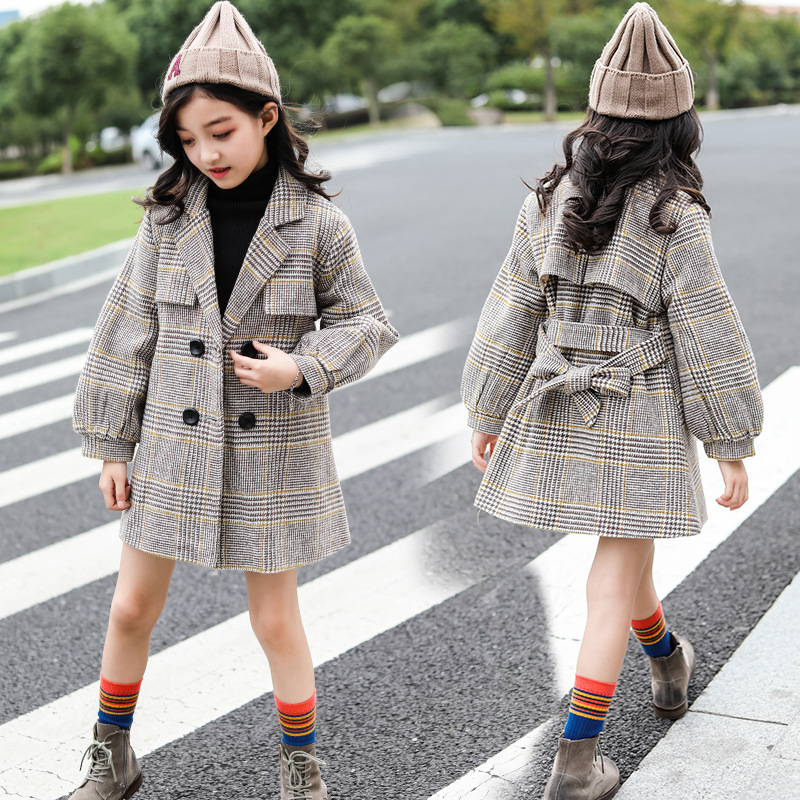 Girls wool Coat 2019 winter new girls coat fashion plaid lantern sleeves long outerwear grey two side pockets long sleeves outerwear