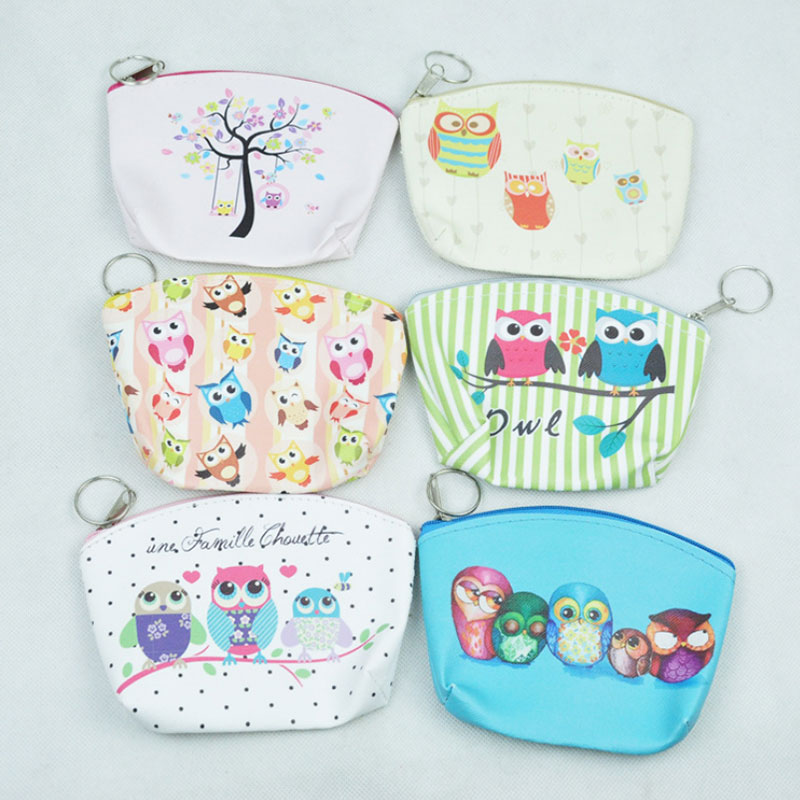 1 pcs Cute owl pu leather Zero wallet children lady girl boy zipper Wallet women Pocket Pouch Bag Keys coin bag Case kids gifts mara s dream new arrival small dot zero printed girl s coin purses wallet bag pouch brand lady mini wallet with metal buckle
