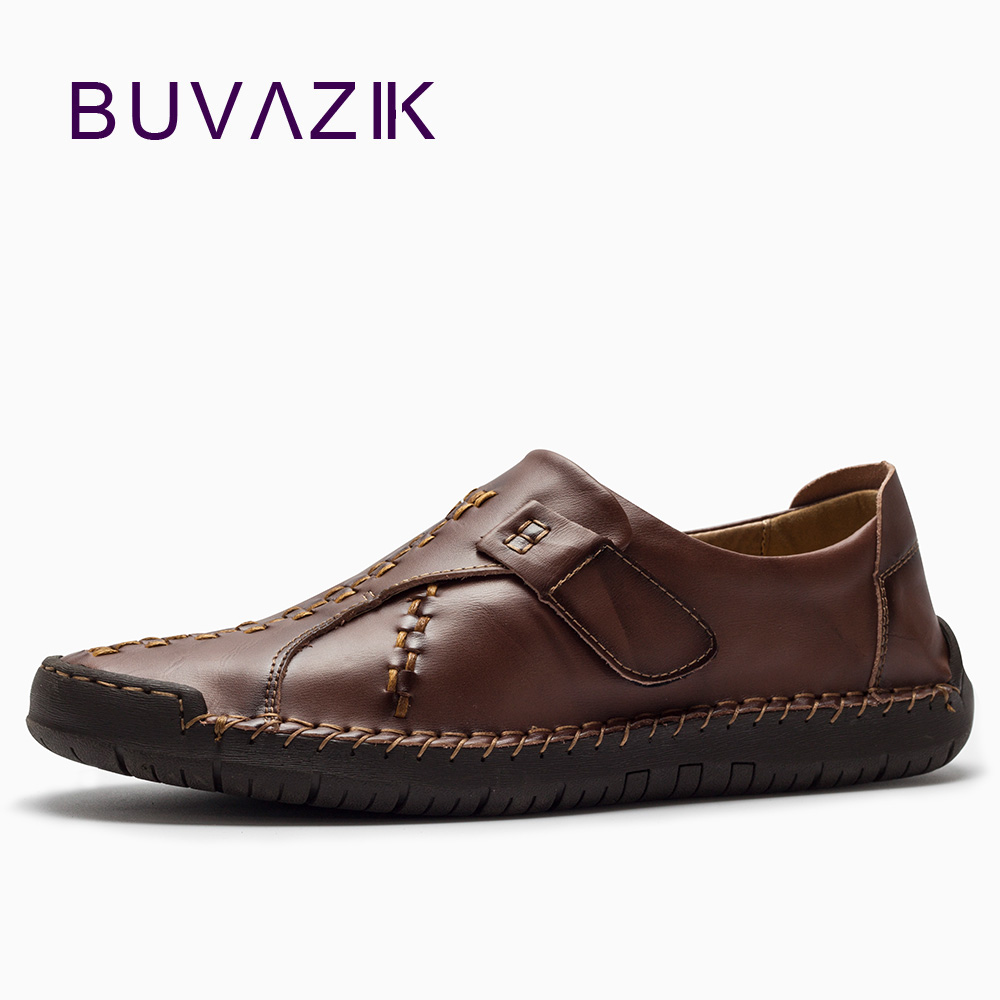 BUVAZIK genuine leather men's casual shoes high quality cow leather breathable flats vintage handmade Sewing oxfords men hot sale mens italian style flat shoes genuine leather handmade men casual flats top quality oxford shoes men leather shoes