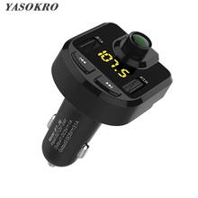 YASOKRO Car Bluetooth FM Transmitter MP3 Audio Player With 5V 3.1A Dual USB Car Charger Support TF Card Play HandFree Kit