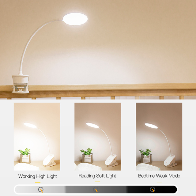 Rechargeable Touch Switch Lamp with Clip (3 Modes)