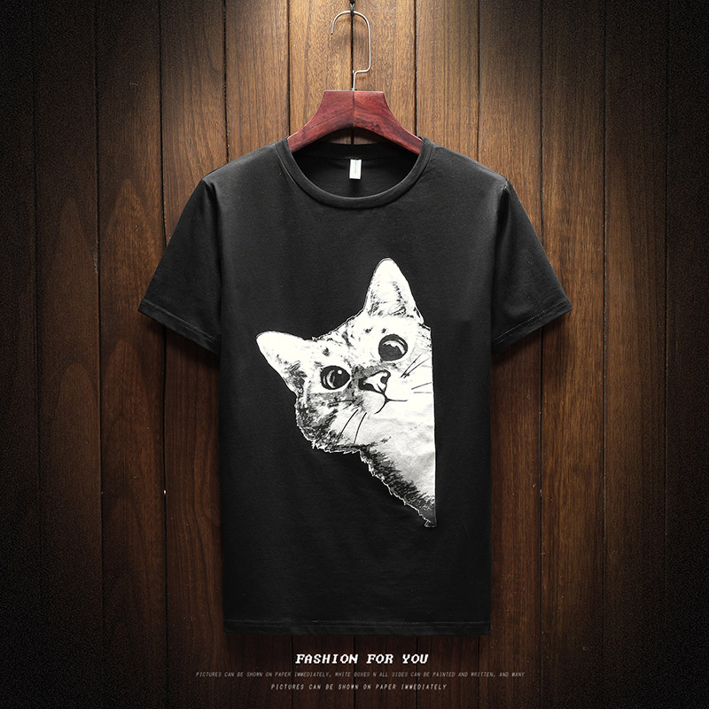 2017 New Print T Shirt Mens Black And White cotton Cosplay o neck T-shirts Summer solid Tee Boy Skate Tshirt Tops plus size
