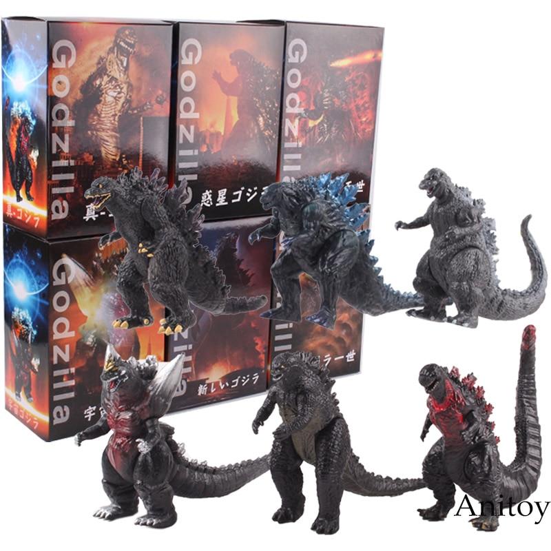 Godzilla Dinosaur Toys PVC Godzilla Action Figures Decoration Home Collectible Model Toys for Boys 6pcs/set