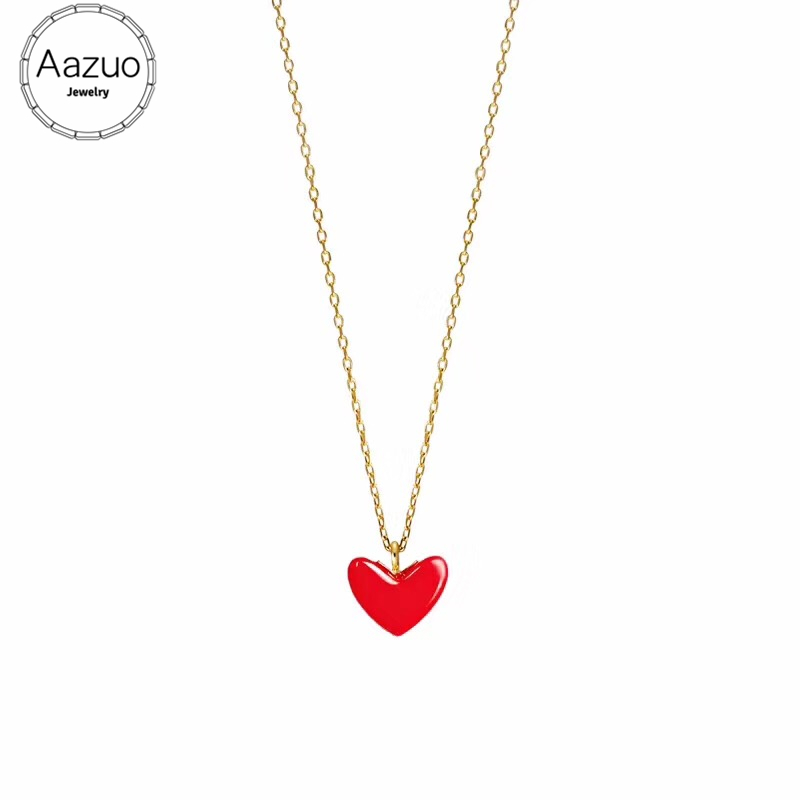 Aazuo Natural Red Coral Real 18K Yellow Gold Single Chain Lovely Red Heart Necklace gifted for