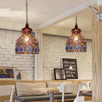 Southeast Asia Thai  Pendant Lights color crystal Mediterranean Bohemian restaurant aisle lamps droplight pendant ZA626 ZL53