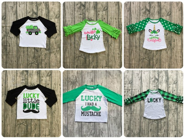 bec724737 St. Patrick's Day baby girls boys unicorn shamrocks cotton boutique top T- shirt raglans
