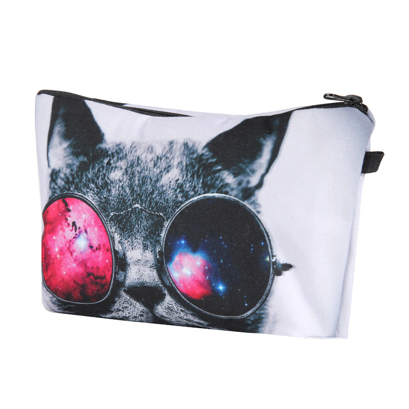 3D Printing Makeup Bags With Multicolor Pattern Cute Cosmetics Pouchs For Travel Ladies Pouch Women Cat Cosmetic Bag