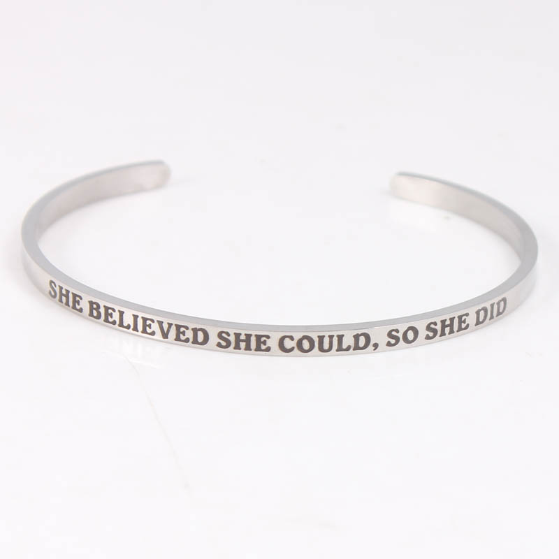 Bangle Cuff Silver Engrave Bracelet She Believed She Could So She Did