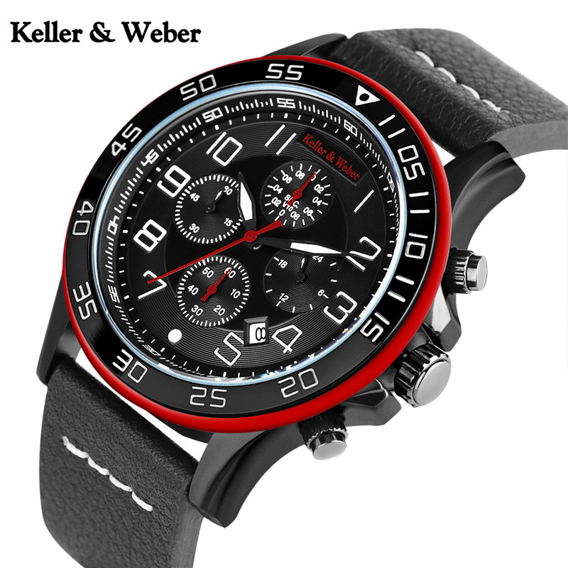 Keller & Weber Chronograph Mens Watches Luxury Brand Military Aviator Clock Genuine Leather Sports 30ATM Waterproof Reloj Hombre рубашка gerry weber gerry weber ge002ewwra96