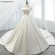 Vestido de novia new Off the Shoulder short sleeve ivory Ball Gown Cathedral wedding dress long pregnancy bestidos real