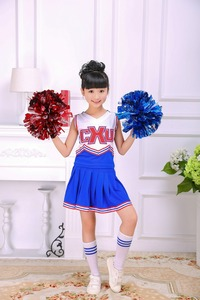 Image 5 - Girls Red & Blue Cheerleader Costume Cheer Outfit Uniform with Pom Poms Socks Set Fits 3 15Yrs Clothes Dress