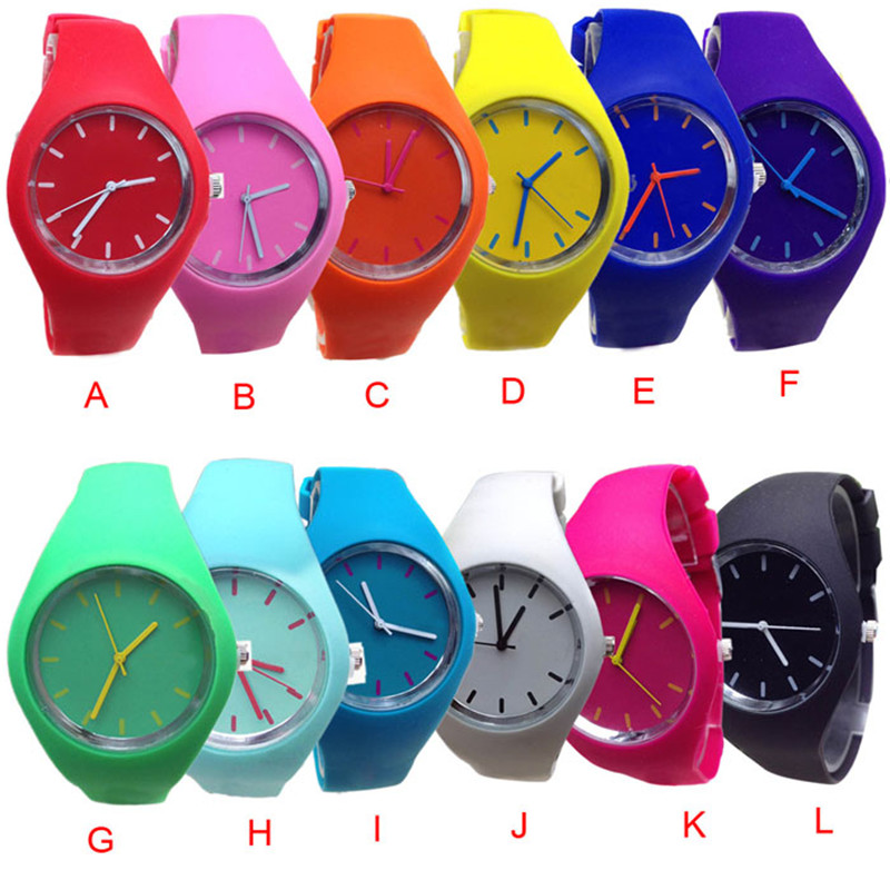 New Relogio Feminino New Geneva Silicone Watches Fashion Sports Outdoor Unisex Candy-Color Man Woman Watch Saat