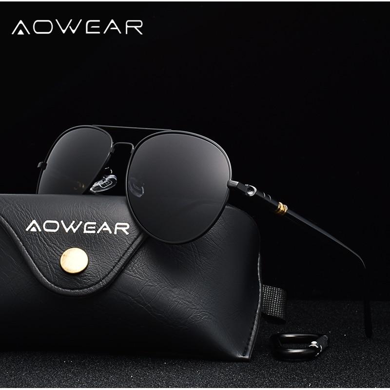 AOWEAR Брендовая Дизайнерская обувь Поляризованные солнечные очки в стиле пилота Для мужчин UV400 вождения очки с зеркальным покрытием линз, солнечные очки с Чехол Gafas De Sol