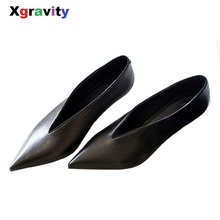 XGRAVITY European American Pop Star Pointed Toe Thin Heel Wo