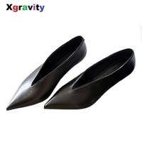 XGRAVITY European American Pop Star Pointed Toe Thin Heel Woman Shoes Deep V Design Lady Fashion