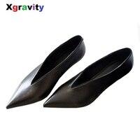 Xgravity в европейском и американском стиле поп-звезда острый носок тонкий каблук Женская обувь Глубокий V дизайн женская модная обувь элегантн...