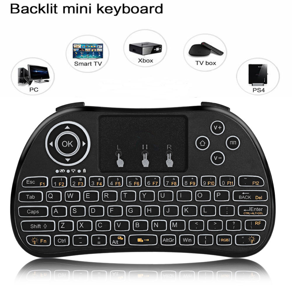 H9 Portable Mini Wireless Keyboard 2.4G Air Mouse Backlit Remote Control Touchpad For PC Smart TV X96 Android TV Box PK I8 M2S original t2 air mouse 2 4g wireless mini keyboard 3d sense motion remote controller t2 air mouse for android smart tv box pc